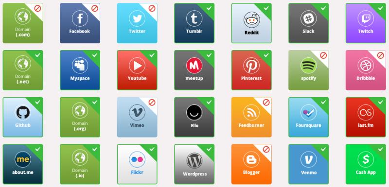 """Secondo Namecheckr """"myacronym"""" è disponibile per molti domini e social network"""